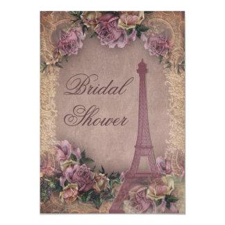 Romantic Paris Vintage Roses Lace Bridal Shower Card