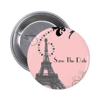 Romantic Paris Vintage Wedding Save The Date Button