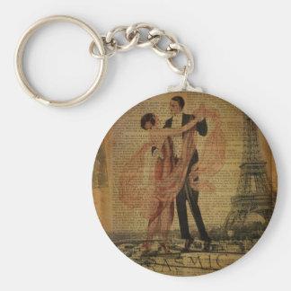 romantic Paris Wedding Waltz ballroom dancers Keychain