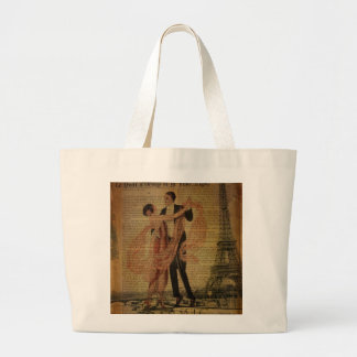 romantic Paris Wedding Waltz ballroom dancers Large Tote Bag