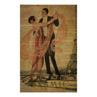 romantic Paris Wedding Waltz ballroom dancers Stationery