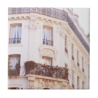 Romantic Parisian Building, Soft Pastel Photo Ceramic Tile