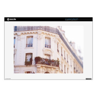 Romantic Parisian Building, Soft Pastel Photo Laptop Decal