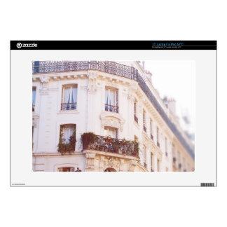 Romantic Parisian Building, Soft Pastel Photo Laptop Decal