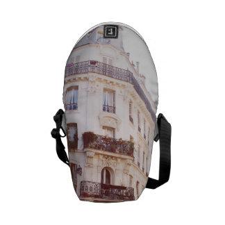 Romantic Parisian Building, Soft Pastel Photo Messenger Bags