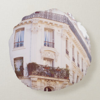 Romantic Parisian Building, Soft Pastel Photo Round Pillow