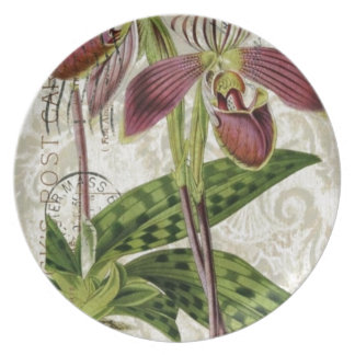 romantic parisian tropical french botanical orchid melamine plate