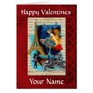 Romantic Parisian  Valentines day Card