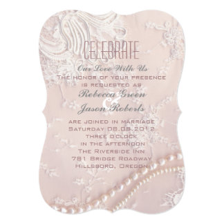 romantic pastel pearl lace dusty pink wedding card