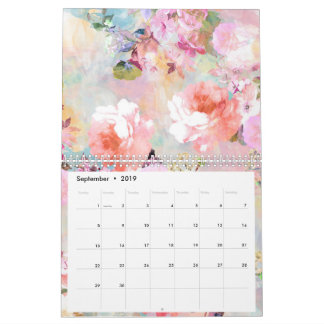 Romantic pastel pink floral watercolor pattern calendar
