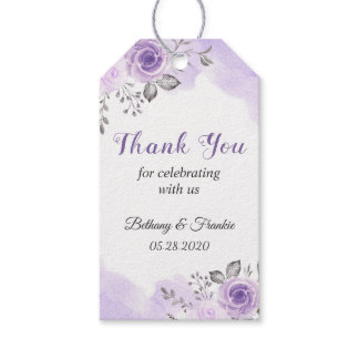 Romantic Pastel Purple Floral Thank You Gift Gift Tags