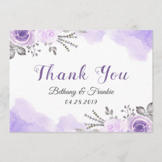 Romantic Pastel Purple Floral Watercolor Thank You