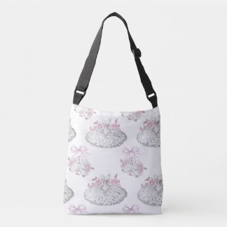 Romantic Pattern with Ballet Dresses and Ballet Sh Crossbody Bag