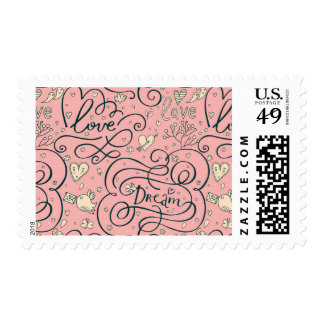 Romantic Pattern with Hearts and Birds Postage Stamp