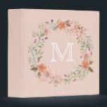 """Romantic Peach Floral Monogram Binder<br><div class=""""desc"""">Romantic Peach and pink watercolor Floral wreath monogram</div>"""