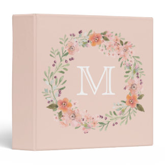 Romantic Peach Floral Monogram Binder