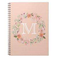 Romantic Peach Floral monogram Notebook