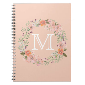 Romantic Peach Floral monogram Spiral Notebook