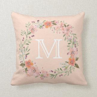 Romantic Peach Floral Monogram Throw Pillow