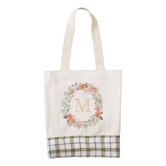 Romantic Peach Floral Monogram Zazzle HEART Tote Bag