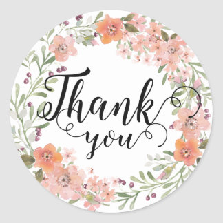 Romantic Peach Floral Thank You Classic Round Sticker