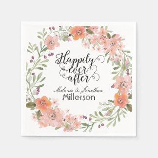 Romantic Peach Floral Wedding Napkin