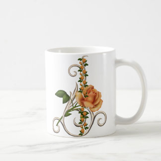 ROMANTIC PEACH ROSE CLASSIC WHITE COFFEE MUG
