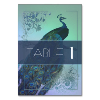 Romantic Peacock table card