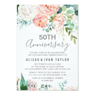 Romantic Peonies 50th Wedding Anniversary Invitation