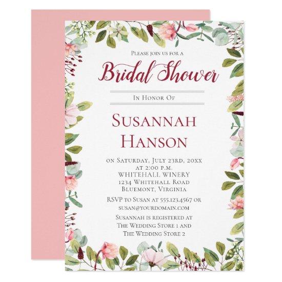 Romantic Peonies and Eucalyptus Bridal Shower Invitation
