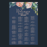 "Romantic Peonies | Blue Alphabetical Seating Chart<br><div class=""desc"">This romantic peonies blue alphabetical seating chart poster is perfect for an elegant wedding. This sign can be used to organize your guests alphabetically or by table number. The floral design features blush pink, peach and white cascading watercolor flowers on a navy blue background. This wedding poster includes enough room...</div>"