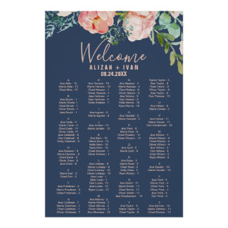 Romantic Peonies | Blue Alphabetical Seating Chart