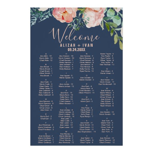 Romantic Peonies Blue Alphabetical Seating Chart