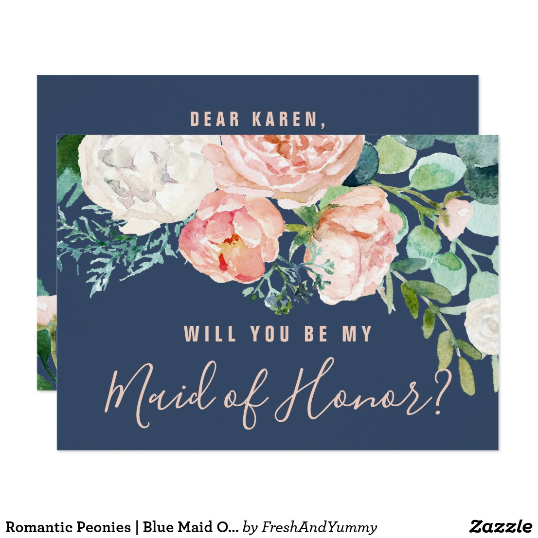 Romantic Peonies | Blue Maid Of Honor Proposal Card
