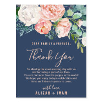 Romantic Peonies   Blue Thank You Reception Card
