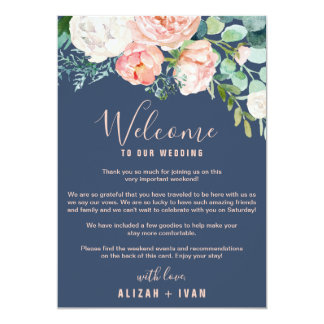Romantic Peonies | Blue Welcome Letter & Itinerary Invitation