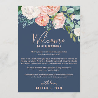 Romantic Peonies | Blue Welcome Letter & Itinerary Program