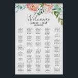 "Romantic Peonies Large Alphabetical Seating Chart<br><div class=""desc"">This romantic peonies large alphabetical seating chart poster is perfect for an elegant wedding. This sign can be used to organize your guests alphabetically or by table number. The floral design features blush pink, peach and white cascading watercolor flowers. This wedding poster includes enough room for up to about 220...</div>"
