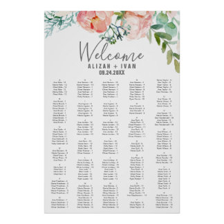 Romantic Peonies Large Alphabetical Seating Chart