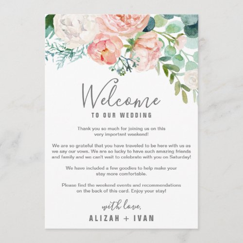 Romantic Peonies Welcome Letter  Itinerary Program