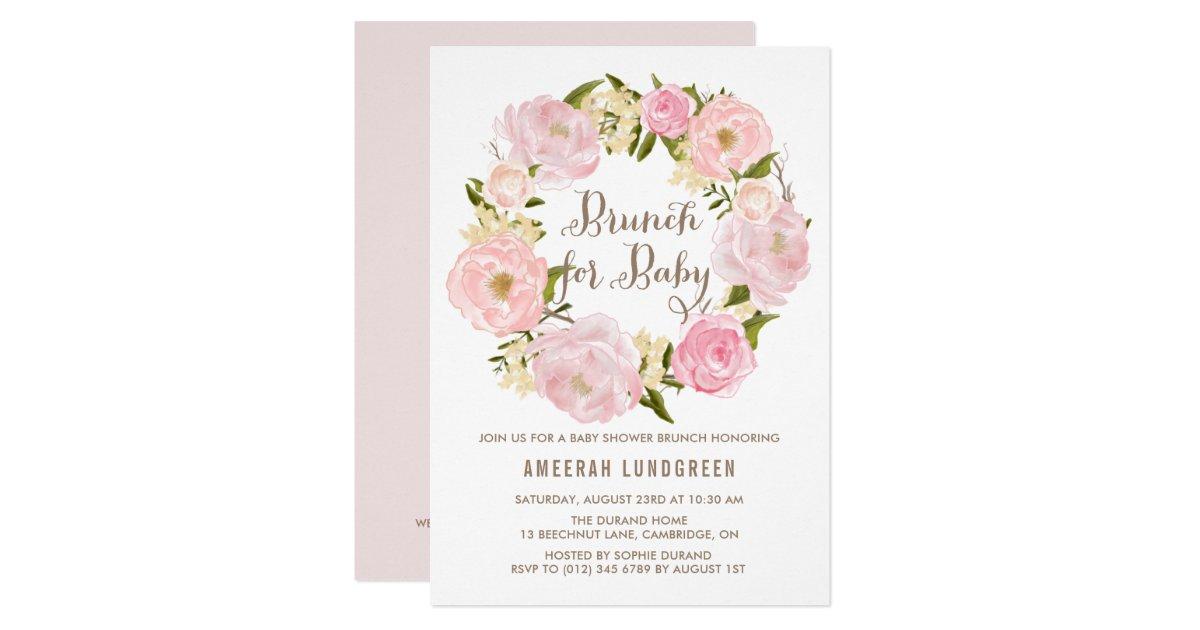 Romantic Peonies Wreath Baby Shower Brunch Invitation | Zazzle.com