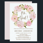 "Romantic Peonies Wreath Baby Shower Invitation<br><div class=""desc"">A whimsical baby shower invitation featuring watercolor illustrations of pink and blush roses and peonies. This will be perfect for spring and garden parties.</div>"