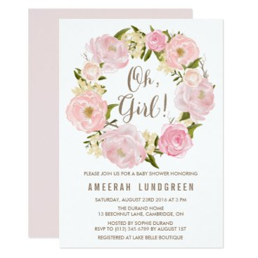 misstallulah Romantic Peonies Wreath Baby Shower Invitation