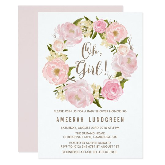 Romantic Peonies Wreath Baby Shower Invitation  Zazzle