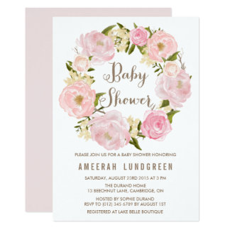Romantic Peonies Wreath Baby Shower Invitation