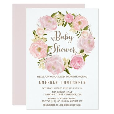 Toddler & Baby themed Romantic Peonies Wreath Baby Shower Invitation