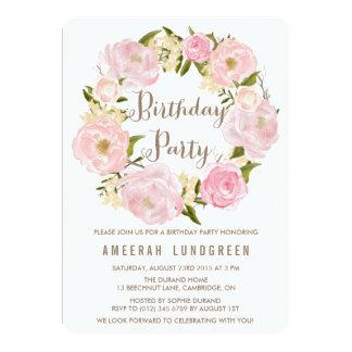 Romantic Peonies Wreath Birthday Party Invitation