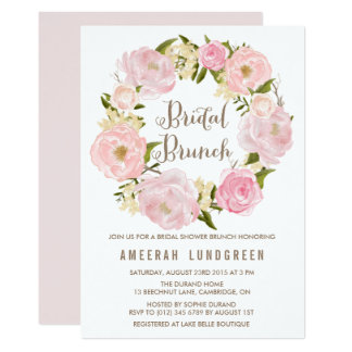 Romantic Peonies Wreath Bridal Brunch Invitation