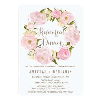 Romantic Peonies Wreath Rehearsal Dinner Invite