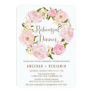 "Romantic Peonies Wreath Rehearsal Dinner Invite 5"" X 7"" Invitation Card"